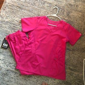 [SET] WonderWink Hot pink scrubs